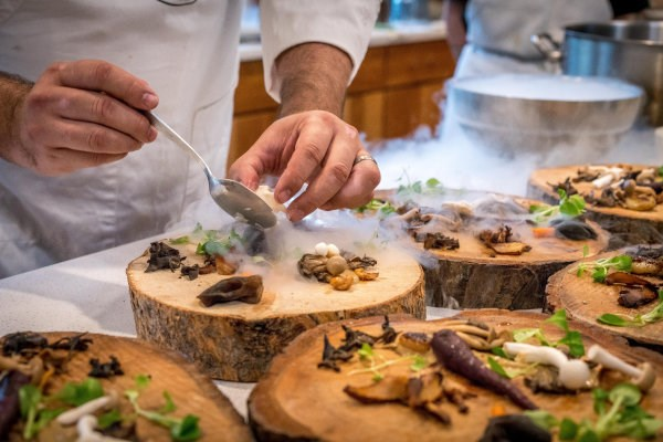 A chef preparing appetizers