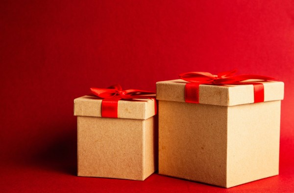 Boxes with red ribbon